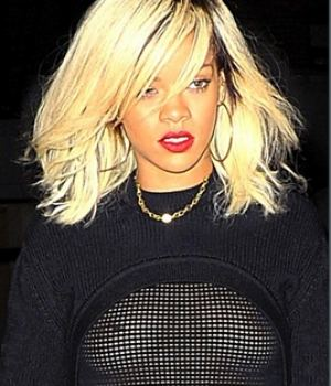 Rihanna Flashing Nips In See Thru Top